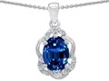 14k White Gold Oval Genuine Sapphire and Diamond Pendant