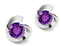 14K White Gold Plated 925 Sterling Silver Round Genuine Amethyst Flower Earring Studs