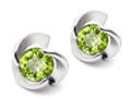 14K White Gold Plated 925 Sterling Silver Round Genuine Peridot Flower Earring Studs