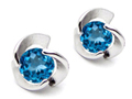 14K White Gold Plated 925 Sterling Silver Round Genuine Blue Topaz Flower Earring Studs