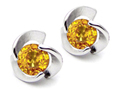 14K White Gold Plated 925 Sterling Silver Round Genuine Citrine Flower Earring Studs
