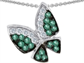 Original Star K(tm) Butterfly with Genuine Emerald and Diamond Pendant