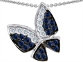 14K White Gold Plated 925 Sterling Silver Butterfly with Genuine Sapphire and Diamond Pendant