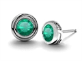 14K White Gold Plated 925 Sterling Silver Round Genuine Emerald Earring Studs