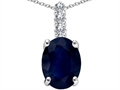 14k White Gold Genuine Sapphire and Diamond Pendant