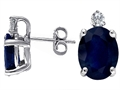 14k White Gold Genuine Sapphire and Diamond Earring Studs