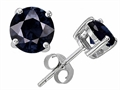14K White Gold Plated 925 Sterling Silver Round 6mm GENUINE Sapphire Earring Studs