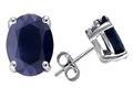 14K White Gold Plated 925 Sterling Silver Oval 8x6 GENUINE Sapphire Earring Studs