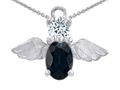 14k White Gold Plated 925 Silver Angel of Love Protection Pendant Made with Genuine Sapphire
