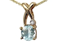 Tommaso Design(tm) X Shape Designer Inspired Pendant with Diamond and Genuine Checkerboard Cut Aquamarine