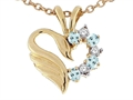 14k Gold Heart Shaped Love Swan Pendant with Genuine Aquamarine and Diamonds.