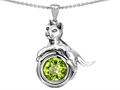 14k White Gold Plated 925 Sterling Silver Cat Lover Pendant with August Birthstone Genuine Peridot
