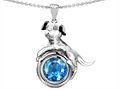 14k White Gold Plated 925 Sterling Silver Dog Lover Pendant with December Birthstone Genuine Blue Topaz