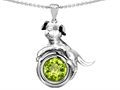 14k White Gold Plated 925 Sterling Silver Dog Lover Pendant with August Birthstone Genuine Peridot
