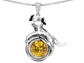 14k White Gold Plated 925 Sterling Silver Dog Lover Pendant with November Birthstone Genuine Citrine