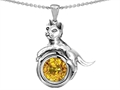 14k White Gold Plated 925 Sterling Silver Cat Lover Pendant with November Birthstone Genuine Citrine