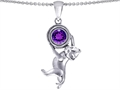 14k White Gold Plated 925 Sterling Silver Cat Lover Pendant with February Birthstone Genuine Amethyst