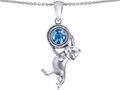 14k White Gold Plated 925 Sterling Silver Cat Lover Pendant with December Birthstone Genuine Blue Topaz