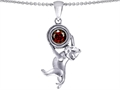 14k White Gold Plated 925 Sterling Silver Cat Lover Pendant with January Birthstone Genuine Garnet