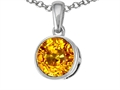 14k Gold Genuine Round Citrine Pendant