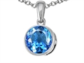 14k Gold Genuine Round Blue Topaz Pendant