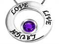 14k White Gold Plated 925 Silver Live/Love/Laugh Circle of Life Pendant with February Birthstone Genuine Amethyst