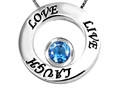 14k White Gold Plated 925 Silver Live/Love/Laugh Circle of Life Pendant with December Birthstone Genuine Blue Topaz