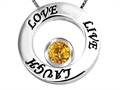 14k White Gold Plated 925 Silver Live/Love/Laugh Circle of Life Pendant with November Birthstone Genuine Citrine