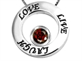 14k White Gold Plated 925 Silver Live/Love/Laugh Circle of Life Pendant with January Birthstone Genuine Garnet