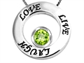 14k White Gold Plated 925 Silver Live/Love/Laugh Circle of Life Pendant with August Birthstone Genuine Peridot