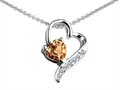 14K White Gold Plated 925 Sterling Silver 7mm Heart Shape Genuine Citrine Heart Pendant