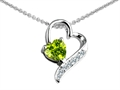14K White Gold Plated 925 Sterling Silver 7mm Heart Shape Genuine Peridot  Heart Pendant