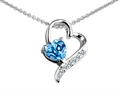 14K White Gold Plated 925 Sterling Silver 7mm Heart Shape Genuine Blue Topaz  Heart Pendant