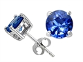 14k White Gold Round 5mm Rare AAA Medium Color Genuine Sapphire Earring Studs