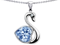 14k White Gold Plated 925 Silver 1inch Love Swan Pendant with Simulated Heart Shape Aquamarine.
