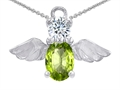 14k White Gold Plated 925 Silver Angel of Love Protection Pendant with Genuine Peridot.