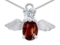 14k White Gold Plated 925 Silver Angel of Love Protection Pendant with Genuine Garnet.
