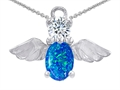 14k White Gold Plated 925 Silver Angel of Love Protection Pendant with Created Blue Opal.