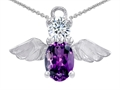 14k White Gold Plated 925 Silver Angel of Love Protection Pendant with Genuine Amethyst.