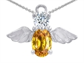 14k White Gold Plated 925 Silver Angel of Love Protection Pendant with Genuine Citrine.