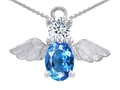 14k White Gold Plated 925 Silver Angel of Love Protection Pendant with Genuine Blue Topaz.