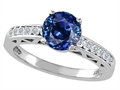 Genuine Sapphire and Diamond Solitaire Engagement Ring