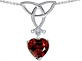 14k White Gold Plated 925 Sterling Silver Celtic Love Knot Pendant with Genuine Heart Shape Garnet