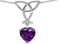 14k White Gold Plated 925 Sterling Silver Celtic Love Knot Pendant with Genuine Heart Shape Amethyst