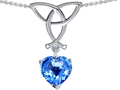 14k White Gold Plated Sterling Silver Celtic Love Knot Pendant with Genuine Heart Shape Blue Topaz