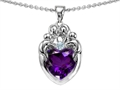 14k White gold plated Sterling Silver Loving Mother and Family Pendant with Genuine Heart Shape Amethyst
