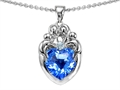 14k White gold plated Sterling Silver Loving Mother and Family Pendant with Genuine Heart Shape Blue Topaz