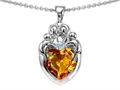 14k White gold plated Sterling Silver Loving Mother and Family Pendant with Genuine Heart Shape Citrine