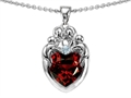 14k White gold plated Sterling Silver Loving Mother and Family Pendant with Genuine Heart Shape Garnet