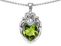 14k White gold plated Sterling Silver Loving Mother and Family Pendant with Genuine Heart Shape Peridot